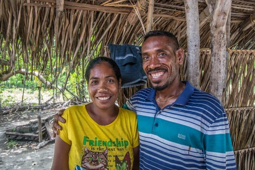 A spearfisherman and his wife in East Timor.