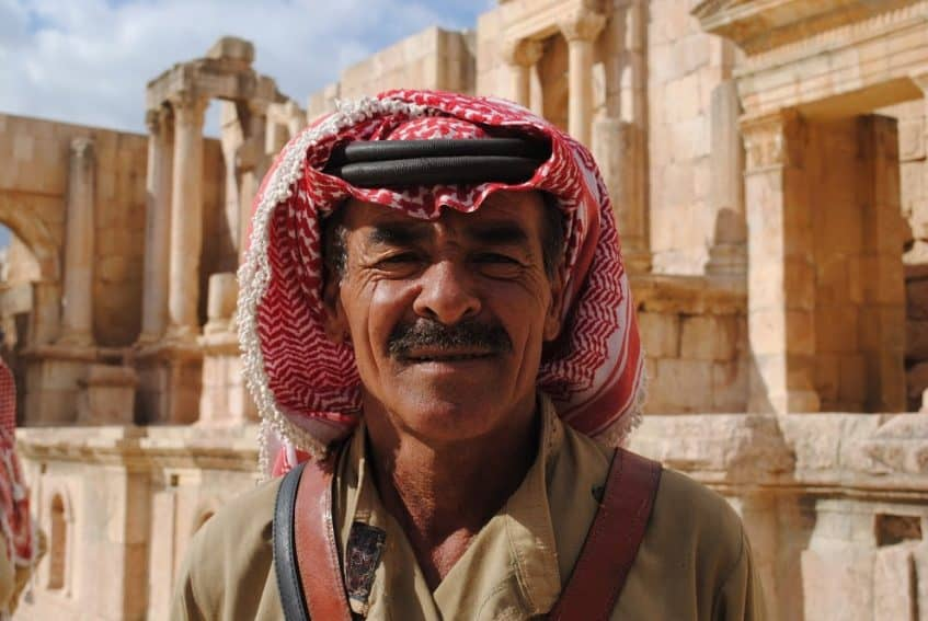 A man in Jerash with traditional headgear.