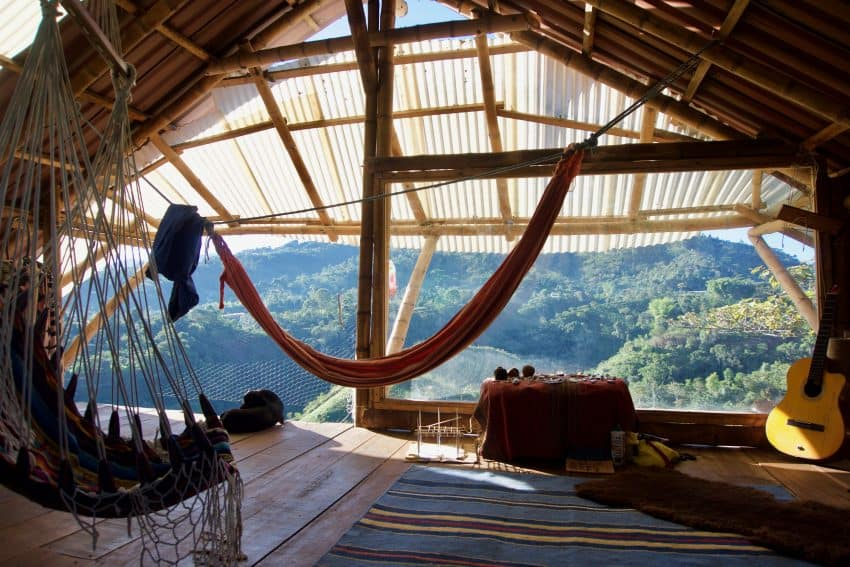 Our hippy quarters on the house's top floor at The Waterfalls, a permaculture farm in southern Colombia. Hattie Rowan photos.