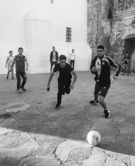 Playing football in the Medina.