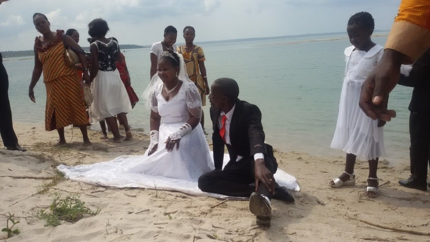 A wedding on a beach in Mozambique.