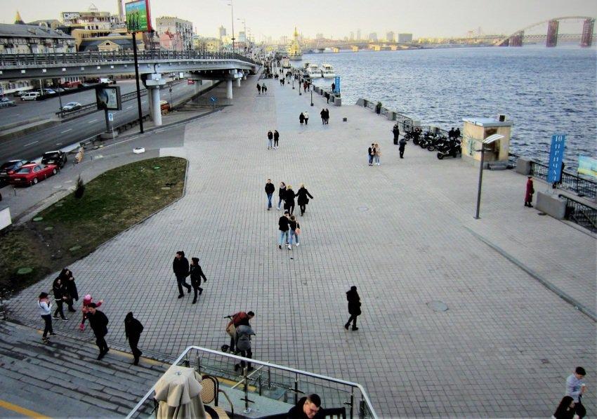 A waterfront promenade in Kyiv, Ukraine.