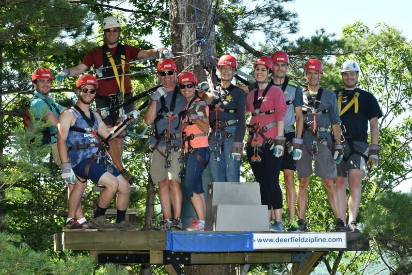 The whole zip lining crew. Photos by Zoar Outdoor.