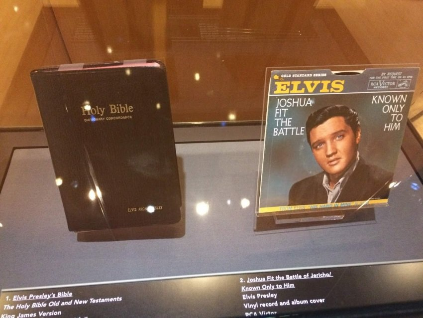 Exhibits include interesting aspects of the book, like Elvis' personal bible.