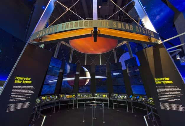 The cutting-edge Journey Through the Solar System experience in the Expanding Universe Hall.