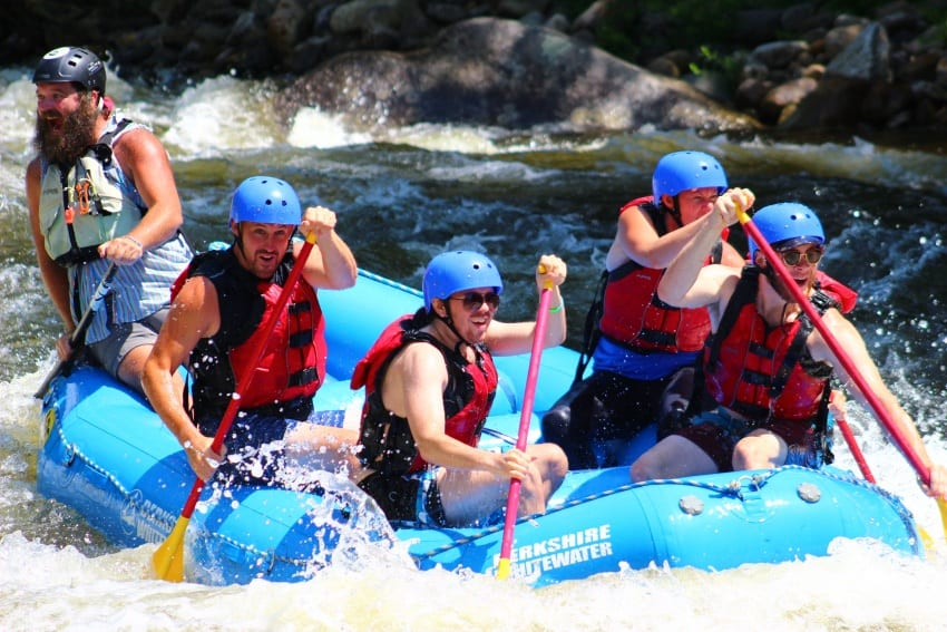 Our raft about to hit some serious rapids.