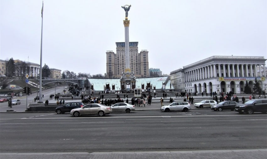 Independence monument in Kyiv's historic 'maidan', the scene of its 2014 revolution