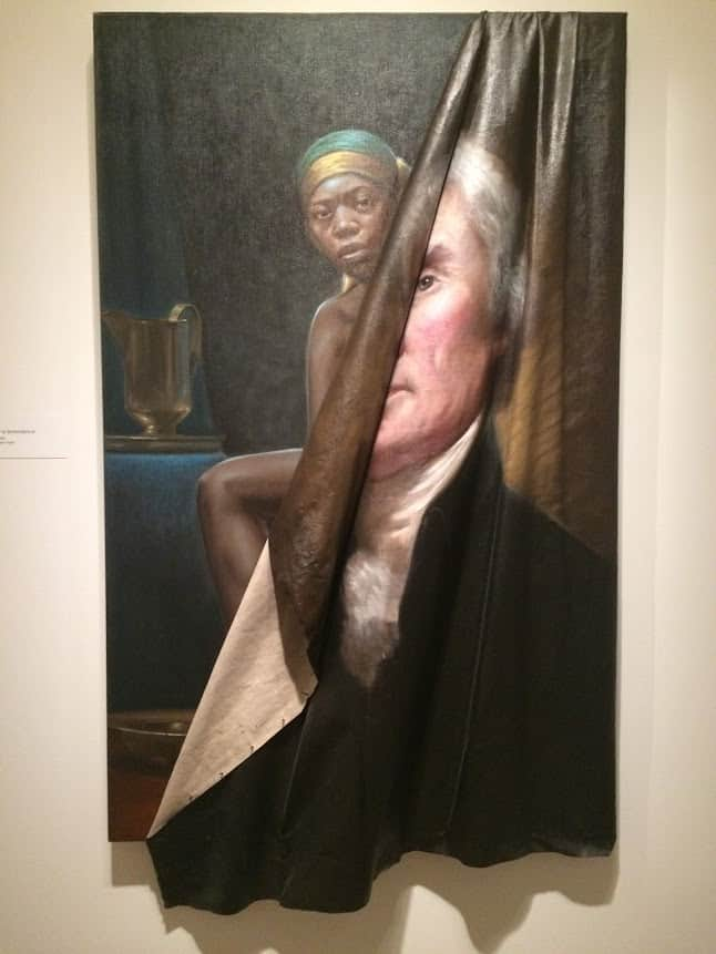 A portrait of Jefferson with Sallie Hemmings, his slave and mistress at the National Portrait Gallery.