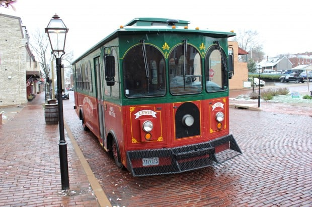 The Saint Charles trolley parked on Main Street, St. Charles, Missouri.