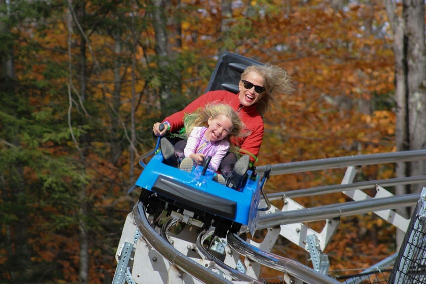 A woman and her child enjoying a ride on the Thunderbolt Mountain Coaster. Photo taken from Berkshire East's website.