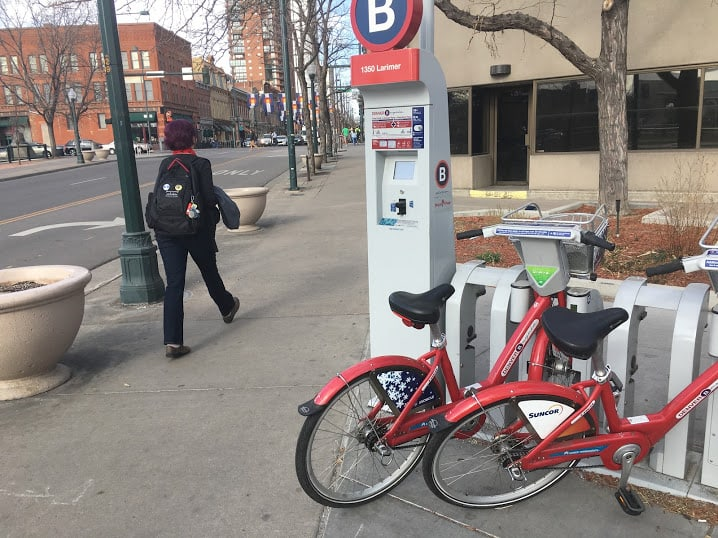 Bikeshare station in Denver Colorado. Despite the convenience, a majority of Americans still don't participate in the sharing economy, according to a new study. Max Hartshorne photo.