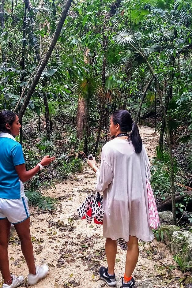 Following along on an eco-tour with Maria inside the jungles of Occidental Xcaret with friend Abby.