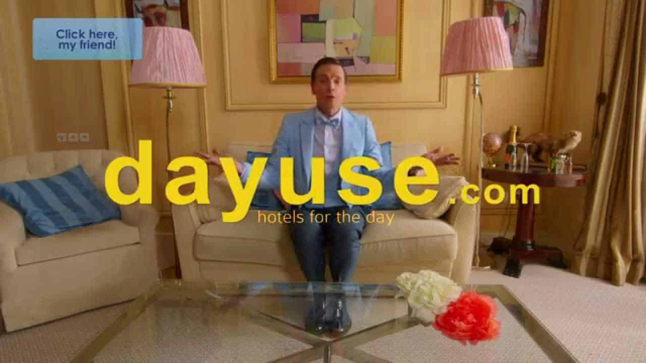 A Dayuse.com advertisement that shows a guest enjoying his time in his day use hotel rental.