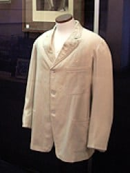Mark Twain's famous white suit jacket that is displayed inside the museum.