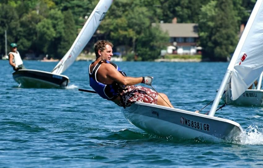 A light breeze can bring the locals out to test the waters at Elkhart Lake. (photo courtesy Elkhart Lake Tourism)