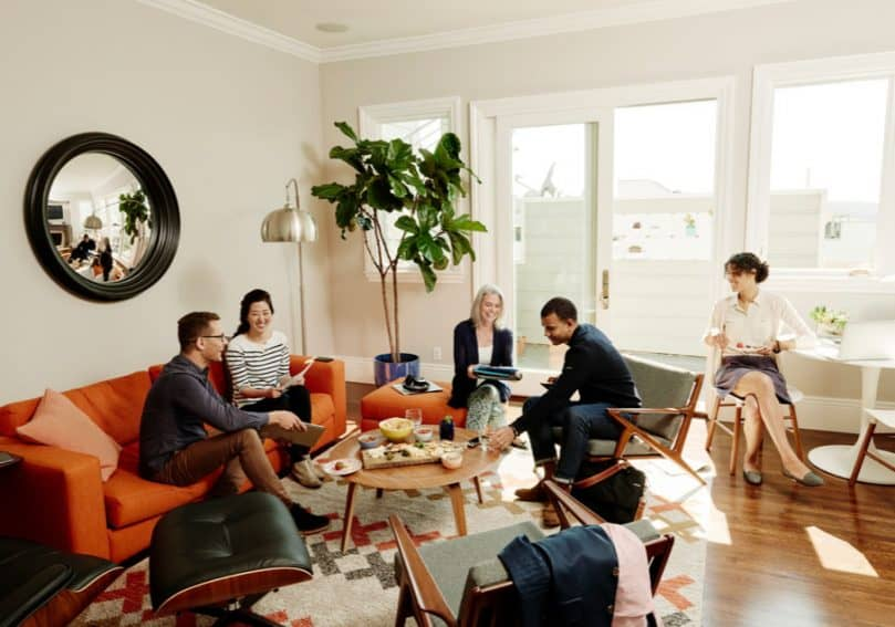 A business meeting being held at a location available for rent through Airbnb for Work.