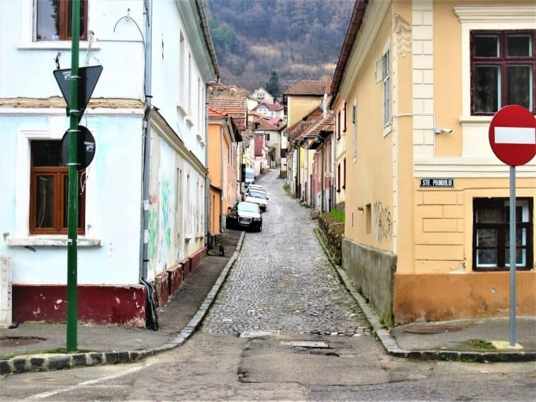 A typical street in Brasov.