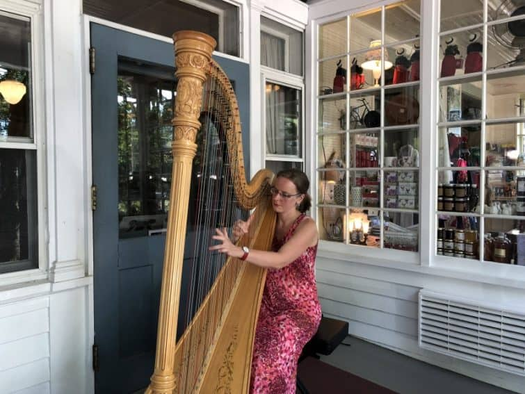 Harpist at the Red Lion Inn in Stockbridge, Mass.