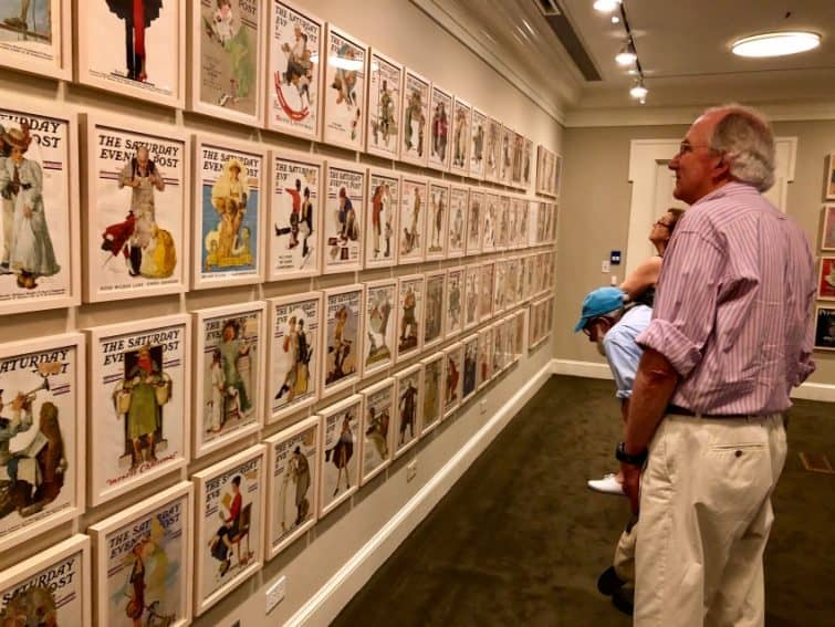 Rows of Saturday Evening Post covers painted by Norman Rockwell at his museum in Stockbridge, Massachusetts. Max Hartshorne photos.