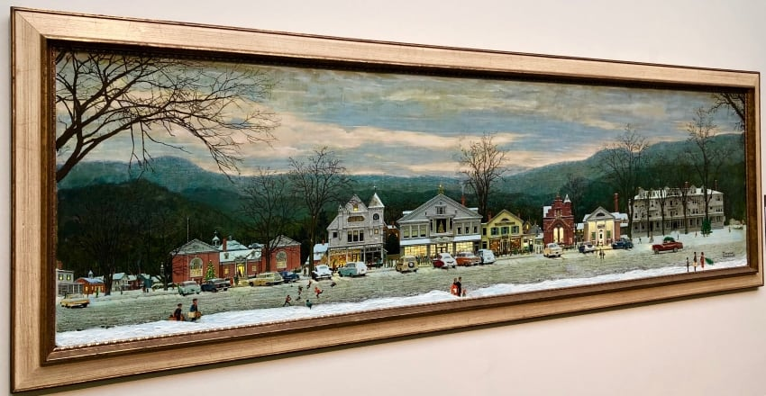 Norman Rockwell's famous painting of his home of Stockbridge Massachusetts shows the Red Lion inn at the far right.