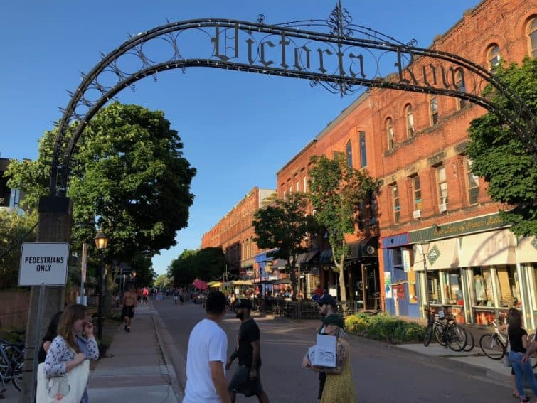 Charlottetown's heart is Victoria Row, a pedestrian-only strip lined with shops, cafes, live music venues, and on Saturday afternoons, historical re-enactors. Max Hartshorne photos.