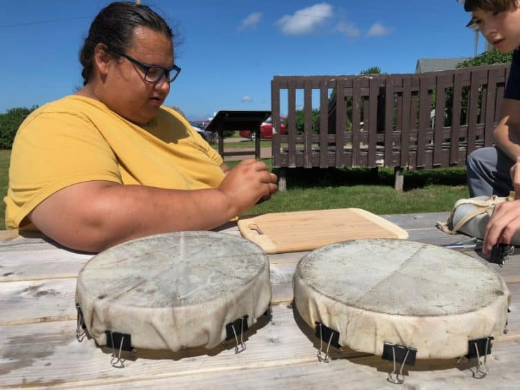 M'kmaq tribe members offer classes in how to make a deer hide drum and share stories about their history and legends on Lennox Island, PEI.