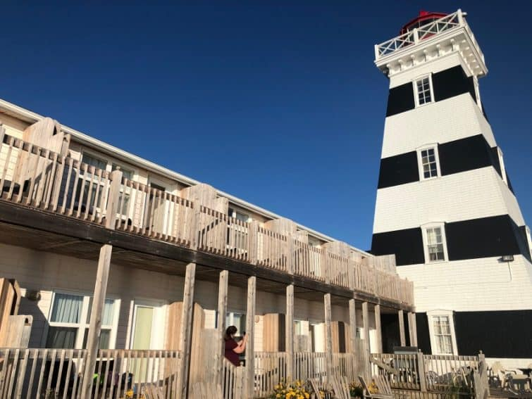 The West Point Lighthouse Inn features rooms right on the water attached to a working lighthouse in O'Leary, PEI.