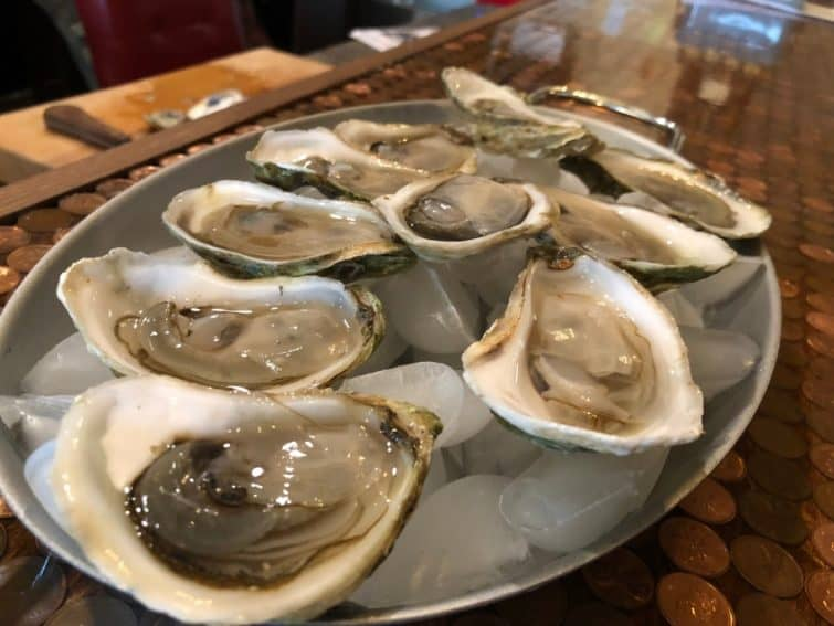 Malbeque oysters in Tyne Valley PEI.