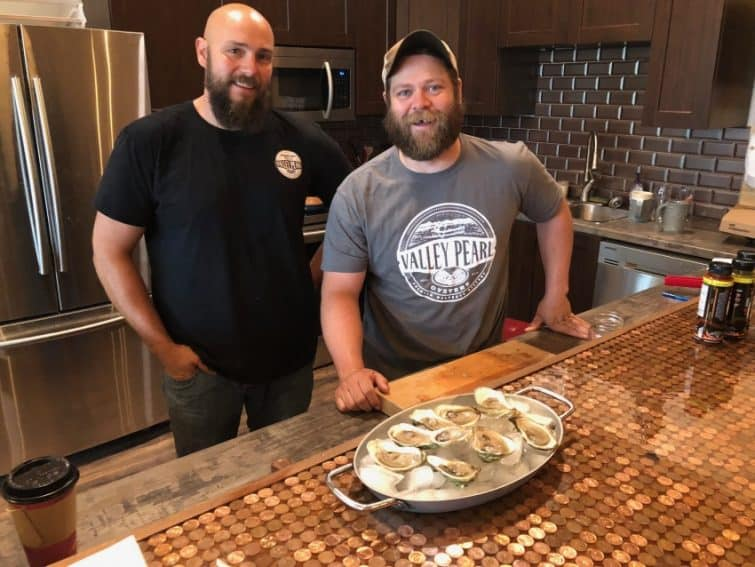 Damien Enman and Jeff Noyes of Valley Pearl Oyster in Tyne Valley PEI. They're opening a new oyster tasting room above their processing facility with local beer and shucked oysters.