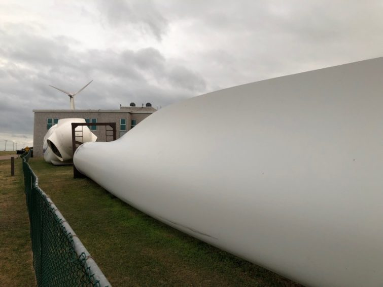 A wind turbine up close at the North Cape Interpretive Centre in O'Leary PEI.