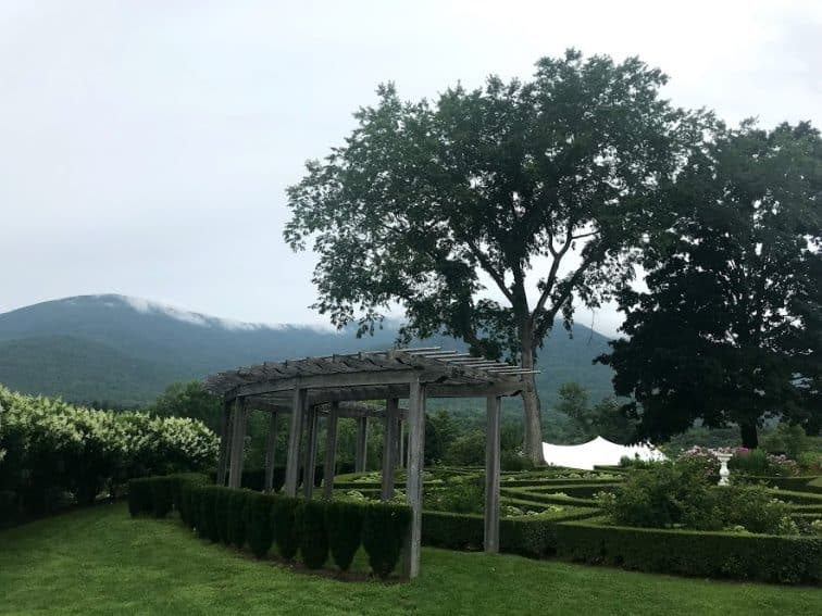 A view of Taconic and Green Mountains from the gardens at the Lincoln Family Home