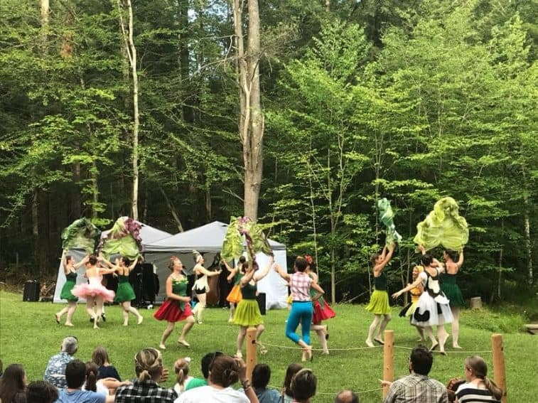 Dancers with large pieces of lettuce dance on the lawn at Moonrise Farms.