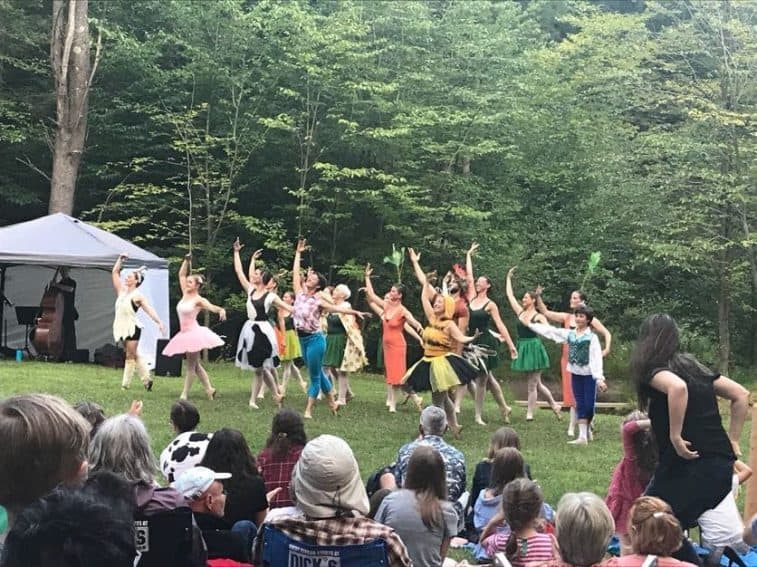 All of the dancers of the Farm to Ballet Project come together during a scene.