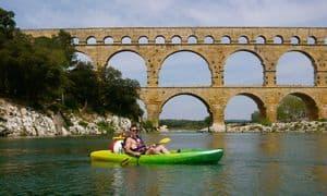 Kayaking under the Pont du Gard in Southern France.