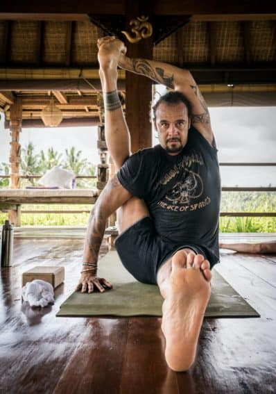 Franti stretching out at Soulshine Resort.