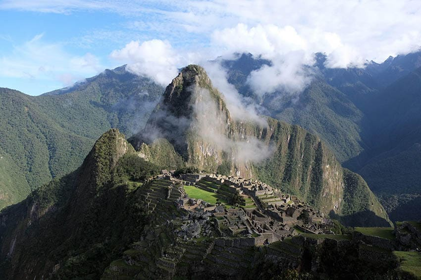 View of Machu Picchu Peru.