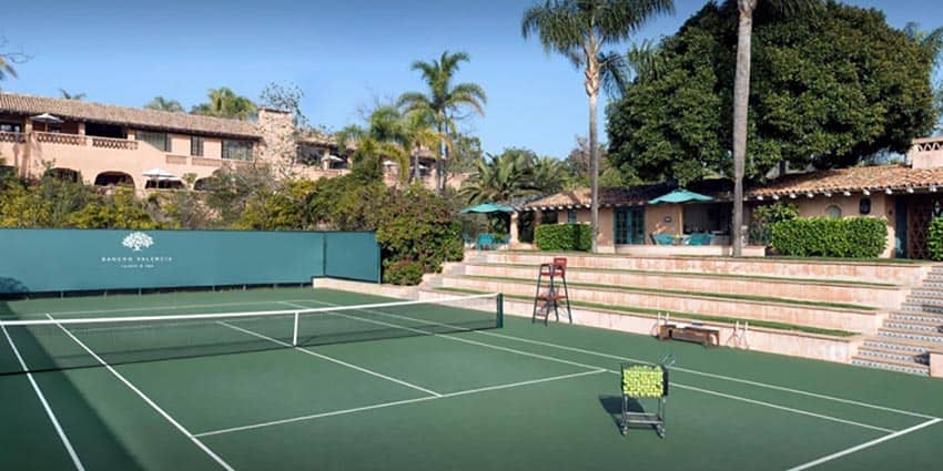 Rancho Valencia in California. Here is one of the places to find the best tennis vacations in the US.