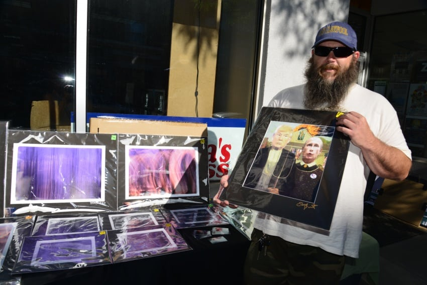 North Bangor Photographer and Print Maker, Shaun Durant set up his table in front of an old Woolworth store on Main Street that Dad used to visit as a teenager.