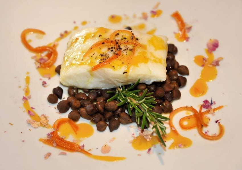 Sea bass with Tuscan beans at Osteria del Castello.