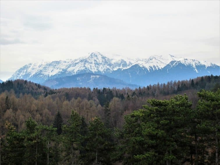The snow-capped Carpathian Mountains in Romania.