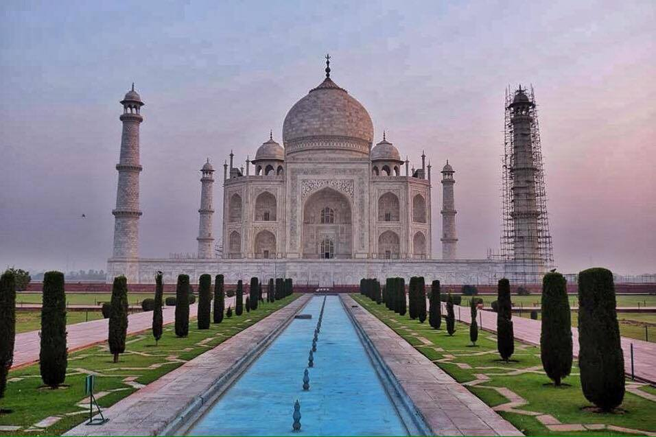 First into the Taj Mahal in India, no other people in sight!