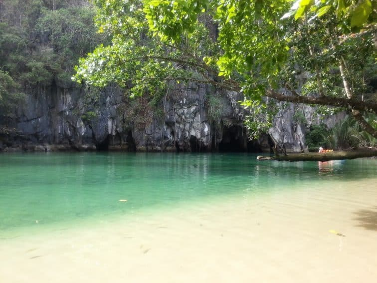 The calm pool and entrance to the cave in Puerto Princessa, Philippines.