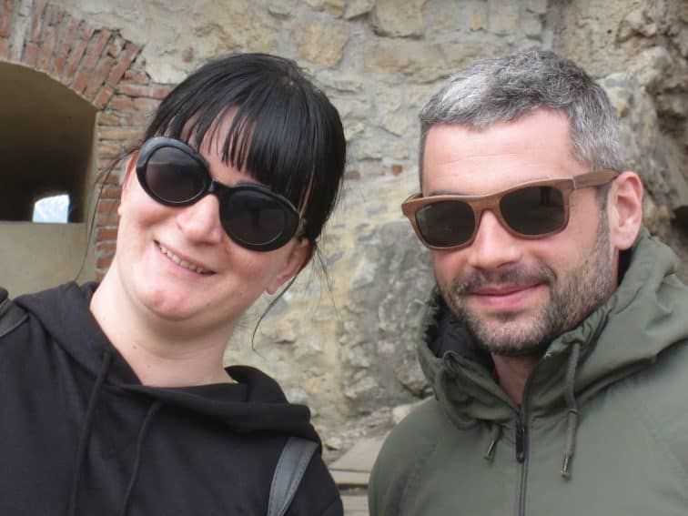 Thea, our guide in Brasov with Alex, her partner