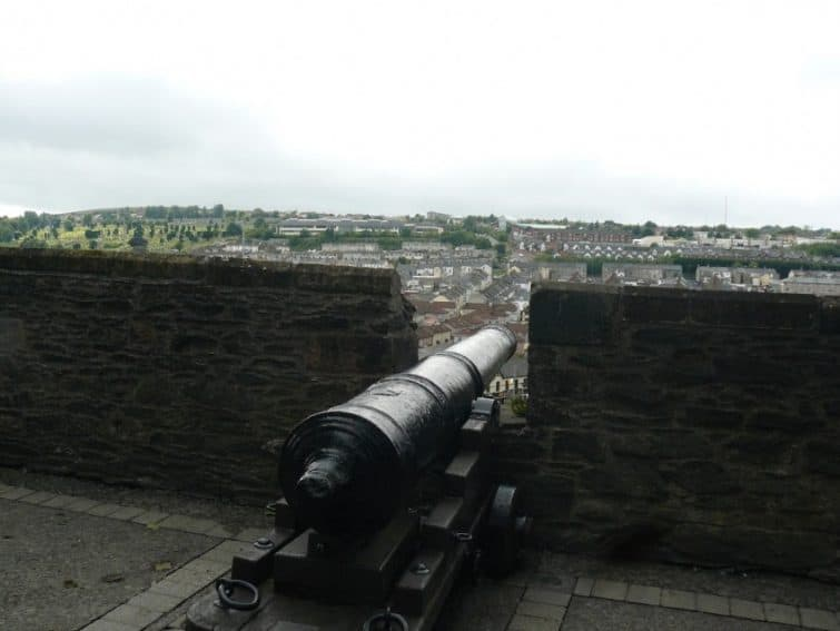 A cannon on the city wall in Derry, Northern Ireland