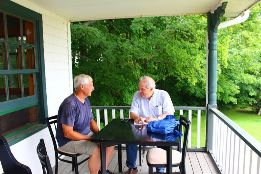 Chatting with George Campbell at Silver Bush in Kensington, PEI.