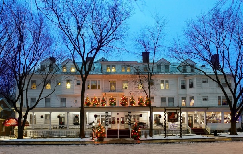 The Red Lion Inn, dressed up for Christmas, in Stockbridge, Mass. Red Lion Inn photo.