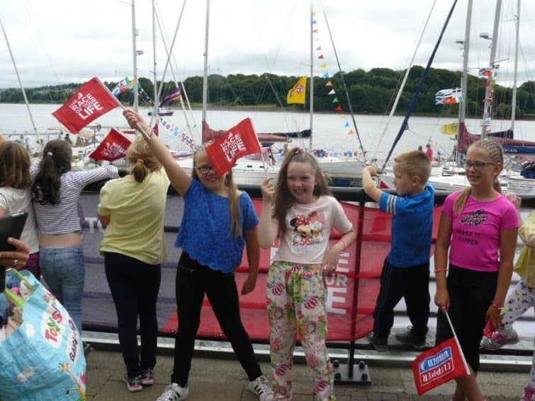 Children on the quay at the Foyle Maritime Festival in Derry, Northern Ireland