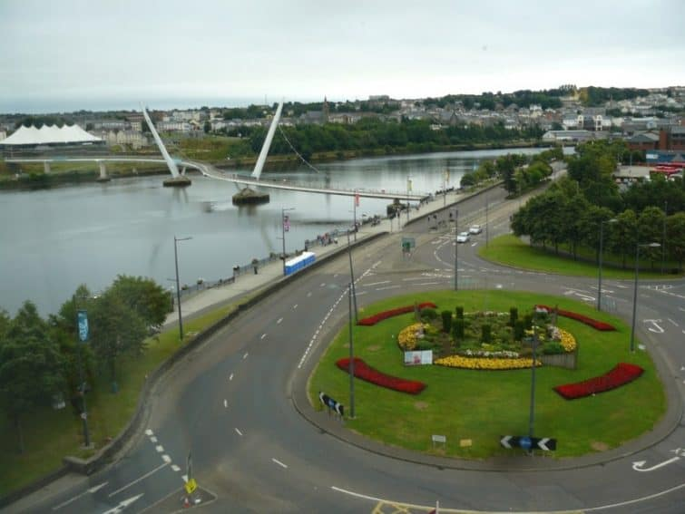 The Peace Bridge from my room at the City Hotel in Derry, Northern Ireland