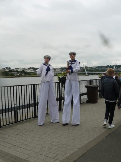 Long-legged sailors at the Foyle Maritime Festival in Derry, Northern Ireland