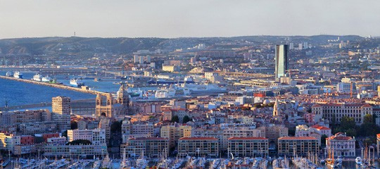 The entire district, showing the CMA CGM Tower in the distance. Photo from CMA CGM's website.